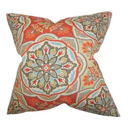 The Pillow Collection - Luana Orange 18 x 18 Floral Throw Pillow - - Pillows have hidden zippers for easy removal and cleaning  - Reversible pillow with same fabric on both sides  - Comes standard with a 5/95 feather blend pillow insert  - All four sides have a clean knife-edge finish  - Pillow insert is 19 x 19 to ensure a tight and generous fit  - Cover and insert made in the USA  - Spot clean and Dry cleaning recommended  - Fill Material: 5/95 down feather blend The Pillow Collection - P18-WAV-677280-CLAY-C100