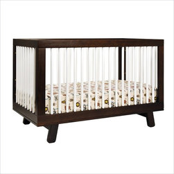 Babyletto Hudson 3-in-1 Convertible Crib in Two-Tone Espresso & White - Delight in mid-century modern appeal with the Hudson 3-in-1 Convertible Crib. Stylish rounded spindles bring a simple charm, and give the Hudson Crib an open, radiant feel. The all-spindle sides let you keep an eye on baby from all angles, while four adjustable mattress positions allow you to maximize comfort and safety for both you and baby.