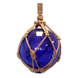 """Handcrafted Nautical Decor - Blue Nautical Glass Float 11"""" - Glass Float - A glowing modern recreation of a nautical and fishing classic, this Blue Nautical Glass Float 12"""" is the perfect piece of nautical wall art, gorgeous whether in your home or office. Enjoy the charming inner warmth as lights play through the glass bauble, perfectly contrasted with the authentic fishing rope holding it in place. Mesmerizing and enchanting, enjoy the historic wonder and brilliant style of this Blue Nautical Glass Float 12"""" glass float each and every day."""