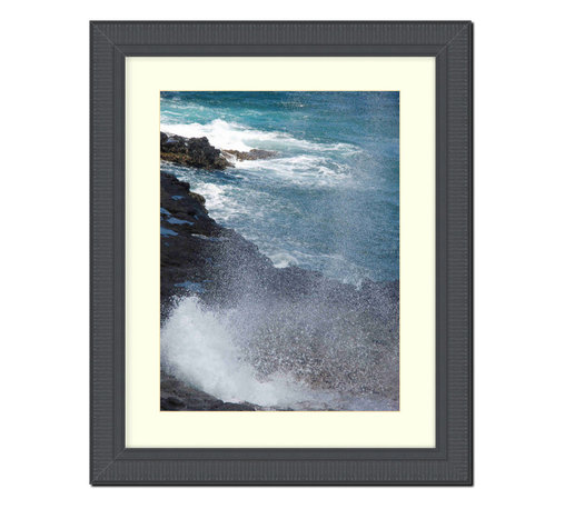 """Frames By Mail - Wall Picture Frame Black Ribbed with a white acid-free matte, 16x20 - This 16X20 2.25"""" wide black ribbed frame is imported from Italy.  The white matte can be removed to accommodate a larger picture.  The frame includes regular plexi-glass (.098 thickness) foam core backing and can hang either horizontal or vertical."""
