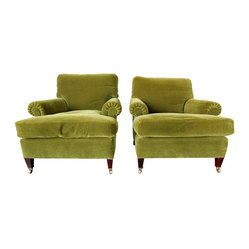 Consigned George Smith Short Scroll Arm Signature Chairs, Set of 2