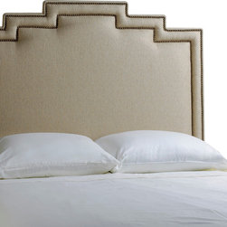 Aztec Headboard - Seductively Southwestern, this headboard combines contemporary styling with a high desert inspired design.  The unique shape and double nailhead trim make a strong impression.