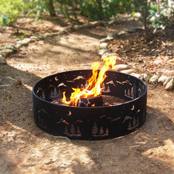 "Wilderness Fire Ring - Turn cool evenings into warm memories as you gather friends and family around our Wilderness fire pit. It has a sturdy 36"" powder coated steel frame, with wilderness cut out designs that will last through years of outdoor use."