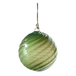 Working Man Hand Made - Dark Green Holiday Ornament In Ball Shape With Twisted Optics - All of our holiday ornaments are made using traditional Italian glass blowing techniques accentuated by bright and festive colors. Our line of transparent ornaments will brighten your holiday season!