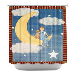 DiaNoche Designs - Fly Me To the Moon Shower Curtain - Sewn reinforced holes for shower curtain rings. Shower curtain rings not included. Dye Sublimation printing adheres the ink to the material for long life and durability. Machine washable. Made in USA.