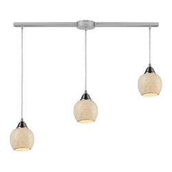 Cloud Drops Pendant Lamp - Inject texture and sophistication into your kitchen or dinette with this three-light pendant. The smooth satin nickel finish of the fixtures is an elegant contrast to the textured, organic looking shades.