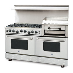 "60""BlueStar  RNB Heritage Classic Range - Stainless-Steel 60"" RNB Heritage Classic Range with  6 Burners and a professional raised griddle/broiler, can come in 190 different colors. This burner configuration is just one of the many options."