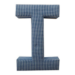 Fabric Wall Letters - Blue Gingham - All Uppercase Letters Available, Letter I - Choose our Blue Gingham fabric letters to create your own unique wall art or personalise your little child's bedroom or baby nursery.