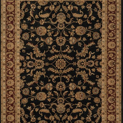 """Loloi Rugs - Loloi Rugs Stanley Collection - Black / Rust, 7'-7"""" Round - The magnificent Stanley Collection features modern interpretations of the most sophisticated hand knotted designs. Recreated in Egypt with power loomed technology these gorgeous polypropylene area rugs offer an affordable alternative."""