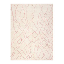 Safavieh - Sonya Hand Knotted Rug, Ivory / Pink 6' X 9' - Construction Method: Hand Knotted. Country of Origin: India. Care Instructions: Vacuum Regularly To Prevent Dust And Crumbs From Settling Into The Roots Of The Fibers. Avoid Direct And Continuous Exposure To Sunlight. Use Rug Protectors Under The Legs Of Heavy Furniture To Avoid Flattening Piles. Do Not Pull Loose Ends; Clip Them With Scissors To Remove. Turn Carpet Occasionally To Equalize Wear. Remove Spills Immediately. Inspired by the classic Beni Ourain rugs woven by nomadic tribes in Morocco's Atlas mountain region, this rug from the Moroccan collection by Safavieh gets a fashion makeover in a pretty combination of ivory and pink. Hand-knotted of viscose and cotton for a soft sheen, this transitional rug exudes understated elegance in a living room or bedroom.
