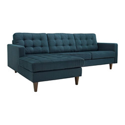 Modway - Empress Left-Arm Sectional Sofa EEI-1666, Azure - End the rule of unjust sovereignties that wage a useless war for your interiors. Empress leaves the would be heiress of holistic furnishings in the dust, with a design that rivals any competitor. Empress is heralded with deeply tufted buttons, plush cushions and armrests that convey that perfect air of nobility. The solid wood legs come with plastic glides to prevent floor scratching, and the fine fabric upholstery leaves the recipients feeling richly rewarded.