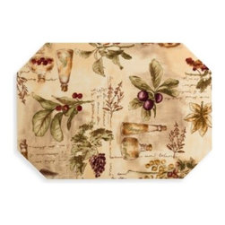 """Barth & Dreyfuss - Sorrento Laminated Placemat - Bring a little taste of Italy to your dining with this charming placemat. This sturdy placemat is great for both indoors and outdoors and will make every meal feel like an event. 100% polyester laminated to 100% vinyl. Measures 12 1/2"""" x 17""""."""