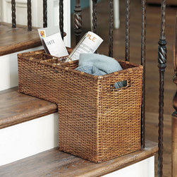 Ballard Designs - Rattan Step Basket - Save yourself multiple trips up the stairs each day. Just collect those items that belong upstairs in this handy rattan stair basket and them up as you head that way each day. There's even a little basket inside designed to lift out for easy access.