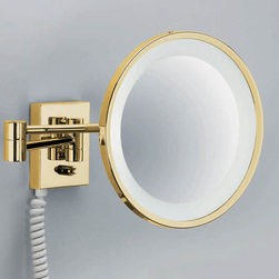 Modo Bath - Smile Gold Illuminated Magnifying Makeup Mirror 3x - Smile 704 Gold Illuminated Magnifying Makeup Mirror 3x Magnification, with Daylight White Light, Illuminated Magnifying Makeup Mirror In Gold Swiveling with 2 Arms Spiral Cable, Plug Socket Daylight White Light Wall-Mounted, Made in Germany