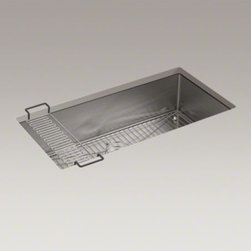 """KOHLER - KOHLER Strive(TM) 35"""" x 18-5/16"""" x 9-5/16"""" under-mount extra-large single bowl k - This Strive kitchen sink offers professional style with easy-to-clean curved corners.�Made of thick, premium quality 16-gauge stainless steel, this extra-large sink offers unique dimensions that maximize the available basin space in a 36-inch cabinet. Strive features a sound-absorption system that significantly reduces disposal and dishwashing noise. This sink includes a combination dishcloth bar/utility shelf�to organize dishcloths, scrubbers, and sponges, and a bottom basin rack to help prevent scratches."""