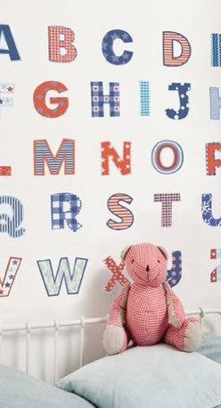 FunToSee - Alphabet Nursery and Bedroom Wall Decals - Create a feature nursery wall, theme a reading corner or decorate a play room