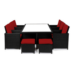 "Reef Rattan - Reef Rattan Amalfi 13 Pc Cube Dining Set - Black Rattan / Red Cushions - Reef Rattan Amalfi 13 Pc Cube Dining Set - Black Rattan / Red Cushions. This patio set is made from all-weather resin wicker and produced to fulfill your needs for high quality. The resin wicker in this patio set won't fade, shrink, lose its strength, or snap. UV resistant and water resistant, this patio set is durable and easy to maintain. A rust-free powder-coated aluminum frame provides strength to withstand years of use. Sunbrella fabrics on patio furniture lends you the sophistication of a five star hotel, right in your outdoor living space, featuring industry leading Sunbrella fabrics. Designed to reflect that ultra-chic look, and with superior resistance to the elements in a variety of climates, the series stands for comfort, class, and constancy. Recreating the poolside high end feel of an upmarket hotel for outdoor living in a residence or commercial space is easy with this patio furniture. After all, you want a set of patio furniture that's going to look great, and do so for the long-term. The canvas-like fabrics which are designed by Sunbrella utilize the latest synthetic fiber technology are engineered to resist stains and UV fading. This is patio furniture that is made to endure, along with the classic look they represent. When you're creating a comfortable and stylish outdoor room, you're looking for the best quality at a price that makes sense. Resin wicker looks like natural wicker but is made of synthetic polyethylene fiber. Resin wicker is durable & easy to maintain and resistant against the elements. UV Resistant Wicker. Welded aluminum frame is nearly in-destructible and rust free. Stain resistant sunbrella cushions are double-stitched for strength and are fully machine washable. Removable covers made with commercial grade zippers. Tables include tempered glass top. 5 year warranty on this product. Table: W 77"" x D 49"" x H 30"", Chairs (6): W 25"" x D 23"" x H 38"", Foot Stools with Cushions (4): W 20"" x D 20"" x H 15"""