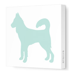 "Avalisa - Silhouette - Dog Stretched Wall Art, 28"" x 28"", Sea Green -"