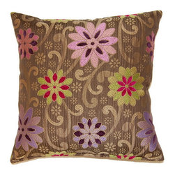 None - Kaleidoscope Multi 17-inch Throw Pillows (Set of 2) - Toss this set of two Kaleidoscope square decorative throw pillows on a chair or sofa,and brighten up your living space. With the golden-brown background,multicolor floral-and-scroll pattern,and rich sheen,these pillows add warmth instantly.