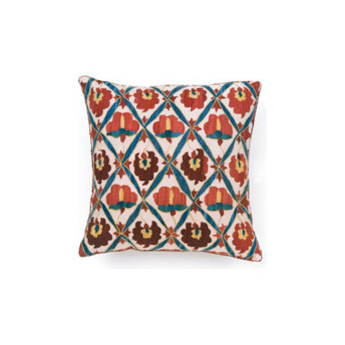 Ninnay Suzani Pillow from Madeline Weinrib Atelier - Really distinct Suzani pattern will really bring a pop of life and color to a solid couch or chair, we love pillows for their ability to transform rooms so simply and affordably, a least when you compare them to a new couch or paint...