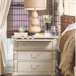 Paula Deen Home 3 Drawer Nightstand - Linen - Add a chic country element to your bedroom decor with the Paula Deen Home 3 Drawer Nightstand – Linen. The durable wood construction of this nightstand features a distressed linen finish that accents its rustic design. Included is a sliding jewelry tray, laminated pull-out shelf, power outlet, and a smart charging station.About Universal Furniture InternationalRecognized as a leader in exceptionally crafted home furnishings, including bedroom and dining room items, entertainment centers, and more, Universal strives to make items that are styled to endure but always remain fresh. They make it a goal to include features that fit the way their customers live today, and to find prices that put high-quality products within reach. These are the principles that guide the work at Universal, essential elements of good, affordable, and smart design.