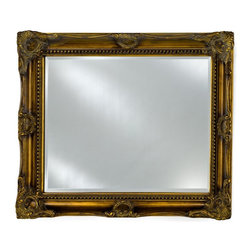 Afina - Estate Collection Large Detailed Mirror - EC17-2834-BG - Shop for Bathroom Mirrors from Hayneedle.com! The Estate Collection Large Detailed Mirror provides a classic touch to just about any wall space. This beautiful beveled edge mirror is complemented by a wood frame embellished by detailed filigree on the sides and corners and comes in your choice of antique burnished gold or antique burnished silver for a distinctively vintage look. Bring light and openness to any room while completing your decor style. Fit the proper wall size with 3 size options of mirror. Hang in portrait or landscape style to match the appropriate wall area.Mirror Dimension options:28W x 34H inches34W x 42H inches40W x 51H inchesAbout AfinaAfina Corporation is a manufacturer and importer of fine bath cabinetry lighting fixtures and decorative wall mirrors. Afina products are available in an extensive palette of colors and decorative styles to reflect the trends of a new millennium. Based in Paterson N.J. Afina is committed to providing fine products that will be an integral part of your unique bath environment.