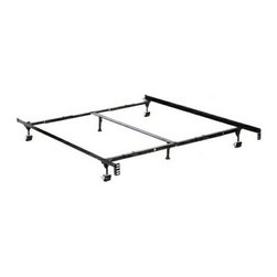 "HBF3270BR - Queen/Cal King/Eastern King Size Premium Lev-R-Lock Bed Frame - Queen / Cal King / Eastern King size premium lev-r-lock bed frame with rug rollers with headboard attachment . This frame features 2 1/2"" wide rug rollers heavy duty 1 1/2"" x 1 1/2"" steel construction, high carbon steel rail side rails for solid support,  Solid rivet construction. Center support leg.   Low profile bed frame 4 1/2"" Height. Some assembly required. Available in Twin / Full,  Twin / Full / queen, queen /Cal. King / Eastern King."
