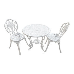 Sterling Industries - Sterling Industries 134-004/S3 Outdoor Bistro Set In White - Table (1), Chair (2)