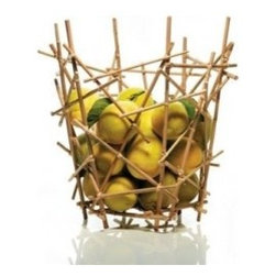 EcoFirstArt - Blow Up Bamboo Citrus Basket - Like a game of pick-up sticks, the random assemblage of bamboo gives this basket its pleasing form. As functional as it is beautiful, you can fill it with fresh citrus to add a shot of color to your kitchen island or dining table.