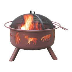 Landmann - Big Sky Wildlife Georgia Clay Fire Pit - Let the deer and the buffalo roam while you enjoy the 360-degree view of your fire pit. The mesh covering the metal cutouts protects you from escaping embers while directing the heat to the outside perimeter — just where you need it. Who's got the marshmallows?