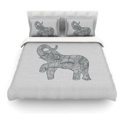 """Kess InHouse - Belinda Gillies """"Elephant"""" Cotton Duvet Cover (Queen, 88"""" x 88"""") - Rest in comfort among this artistically inclined cotton blend duvet cover. This duvet cover is as light as a feather! You will be sure to be the envy of all of your guests with this aesthetically pleasing duvet. We highly recommend washing this as many times as you like as this material will not fade or lose comfort. Cotton blended, this duvet cover is not only beautiful and artistic but can be used year round with a duvet insert! Add our cotton shams to make your bed complete and looking stylish and artistic! Pillowcases not included."""