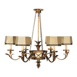 Fine Art Lamps - Newport Chandelier, 547940ST - From the leaf-accented extension rod and ornate central canopy to the hand-sewn silk-shaded candelabras, you'll find the hand-crafted details of the burnished gold and silver Newport chandelier to be simply enchanting!