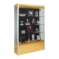 Waddell - Contempo Full Floor Display Case (Light Maple and Satin with Black Panel) - The Waddell Contempo Display Cases bring a modern style into your space. Design surrounds a clean, seamless front to parade your prized possessions in high style.