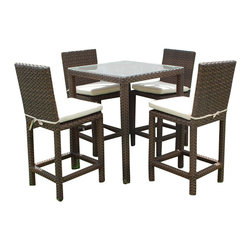 International Home Miami - Monza Wicker Outdoor Bar Set - Great quality, stylish design patio sets, made of aluminum and synthetic wicker. Polyester cushion with water repellant treatment. Enjoy your patio with elegance all year round with the wonderful Atlantic outdoor collection.