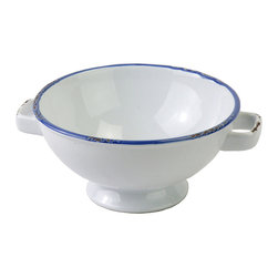 None - Large Enamel Vintage Style Blue Rimmed Bowls (Set of 2) - Large Bowl Enamel Style.Embellished with classic blue enamel fillets, this white and blue stoneware dinnerware is suitable for everyday dining.