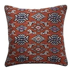 Chocolate Ikat Cotton Pillow - This Ikat pillow is woven and handcrafted in Bali, Indonesia. Due to the unique nature of being truly handmade, no two items are alike and minor variations in the ikat fabric are present. Insert Included. By Cleobella.