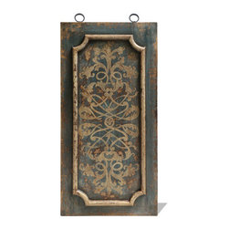 Molded Art Panel, Distressed Turquoise with Bone Scrolls - Molded Art Panel, Distressed Turquoise with Bone Scrolls