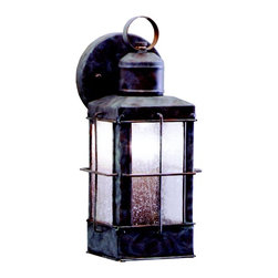 """KICHLER - KICHLER 9477OB Concord Traditional Outdoor Wall Sconce - The Concord Collection brings a fresh perspective to your home's outdoor lighting with this maritime-inspired look. From our Olde Brick finish to the seedy glass, each piece is formed by our skilled artisans to emulate the look of aged, nautical lanterns in lasting detail. This one light, 11"""" high Concord Wall Lantern is an easy way to add a beautiful accentuating touch to your home. It uses a 100-watt (max.) bulb and is U.L. listed for wet locations."""