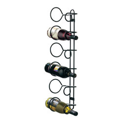 Spectrum - Spectrum Wall Mounted 6 bottle Wine Rack - 48810CAT - Shop for Wine Bottle Holders and Racks from Hayneedle.com! Organize your wine cellar or any small area with the Spectrum 6-bottle Wall Mounted Wine Rack. This convenient design hangs vertically to save you counter and floor space and holds to six standard-sized bottles of wine. Two sturdy black metal rings compose each individual holder safely storing your bottles. As an added bonus this type of side storage promotes longer shelf lives by keeping the corks moist. Dimensions: 6W x 5.63D x 27H inches.