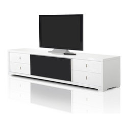 VIG Furniture - AA519-227 White Crocodile Textured Lacquer Entertainment TV Console - The AA519-227 entertainment center is modern luxury furniture at it's finest. The TV unit is crafted from solid wood products with a stunning white lacquer finish. The lacquer features a stunning laser etched crocodile texture that adds to the overall look and feel of the unit. The TV console features a middle console for electronic devices and pull-out storage drawers on each side.