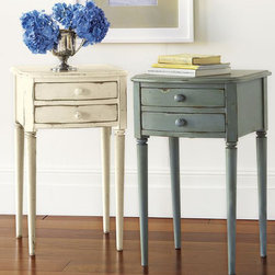Charlotte Bedside Table - Our Charlotte Bedside Table offers a stylish way to stay organized. The multistep hand finish is beautifully distressed to reveal hints of a contrasting undercoat at the edges.