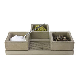 Cemented Spice Tray Trio - Hand-cast and perfectly sealed concrete makes a handsome and unusual set of triplet spice bowls. Because of the unique way that concrete ages, this wide dish will only become more sturdy and beautiful as it gains a deep patina. You'll love it over the stove or for spicy table service.