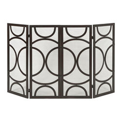 IMAX Worldwide - IMAX Worldwide Winnoa Fireplace Screen - The Winnoa fireplace screen has a modern circular pattern and four screened panels in a black finish. Looks great in a variety of interiors by designer Melissa Vasquez.