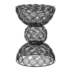 Safavieh - Safavieh Iron Wire Stool X-A8054XOF - Infused with soft curves, the Leila iron wire stool embraces a quiet geometry.  The clean, modern lines of the black epoxy pattern are gently and playfully balanced with the organic, sinuous shape of a circle, giving it versatile charm ideal for any inter