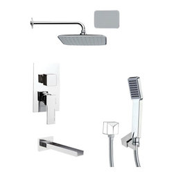 Remer - Contemporary Chrome Square Shower System - Single function tub and shower faucet.