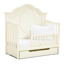 """LC Kids - Enchantment Convertible Toddler Daybed Crib in Antique Off-White Finish - When your little one has outgrows her crib, you'll be ready with the Enchantment convertible toddler daybed.  Traditional style white crib easily converts into a daybed to make your child's first """"big girl"""" bed.  Built-in railing insures your child will be safe and secure while sleeping.  Add the pull-out lower drawer for additional storage, and with the optional full bed extension kit, this bed can continue to grow with your child. The crib was manufactured in 2011 or later and complies with the new federal safety standards issued by the CPSC. Enchantment Collection. Includes crib, 2 posts, 1 rail & 1 guard rail to convert into daybed. Crib drawer not included. Select hardwood solids. Assembly required. Crib: 33 in. L x 64 in. W x 54 in. H (150 lbs.). Cribs are designed. Crib Safety: ivgStores cares about the safety of the products we sell especially for your new little one. We work closely with our manufacturers and only carry those items which meet or exceed federal and state laws. If you are considering buying a new crib or even using a previously owned or heirloom crib, we recommend you visit  cribsafety.org to learn more about crib safety."""