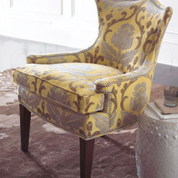 """Kylie"" Chair - The ""Kylie"" Chair will wrap you in comfort with its beautifully curved back.  Classic damask-patterned upholstery ensures it will be timeless favorite in your home for generations to come.31""W x 32""D x 38""T."