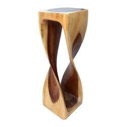 "Asian Art Imports - Tall Twist Stand - At 30"" tall, this piece, carved from a single piece of acacia wood can be used as a stand or seat."