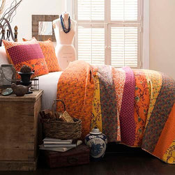 Lush Decor - Royal Empire Tangerine Three-Piece Full and Queen Quilt Set - - This colorful 3 pc 100% cotton quilt set is loaded with color and works both in a contemporary or traditional room. It has printed pieced fabrics on one side and a full print on the other. A perfect weight for all year round use  - Set Includes: 1 Quilt and 2 shams  - Sham: 20-Inch H x 26-Inch W  - Care Instructions: Machine wash cold Lush Decor - C12789P13-000