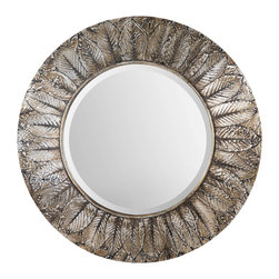 Grace Feyock - Grace Feyock Foliage Round Silver Leaf Mirror X-56070 - Frame features layered, natural leaves covered in distressed silver leaf with light antiquing. Mirror is beveled.